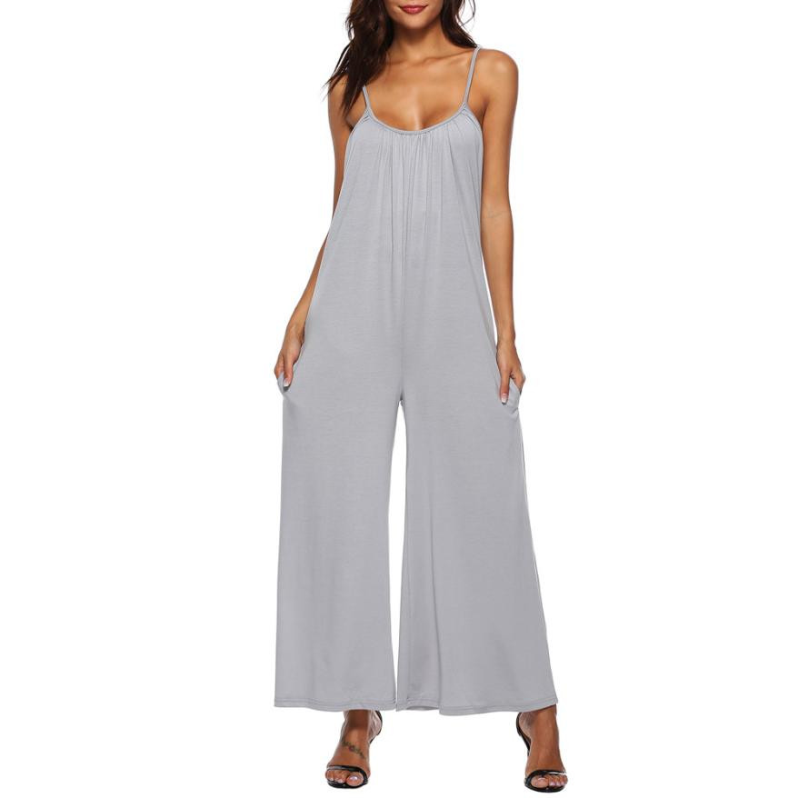 Summer Casual Loose Long Playsuit Rompers Womens Fashion Sleeveless Wide Leg Trousers Jumpsuits Sexy One Piece Outfits #jo Modern Design Jumpsuits