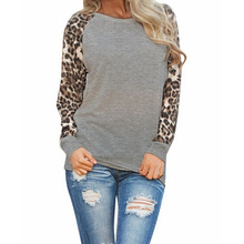 Spring Autumn Oversized Casual Tops O Neck Chiffon Leopard Sleeve Patchwork Blouse Women Clothings LX107