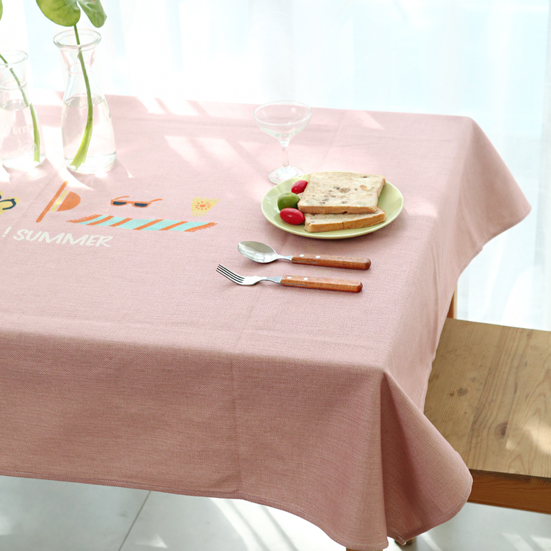 Table Cloth Coffee Table Simple Modern Cotton Linen Cloth Cover Anti-hot Anti-oil Tablecloth Pink Green