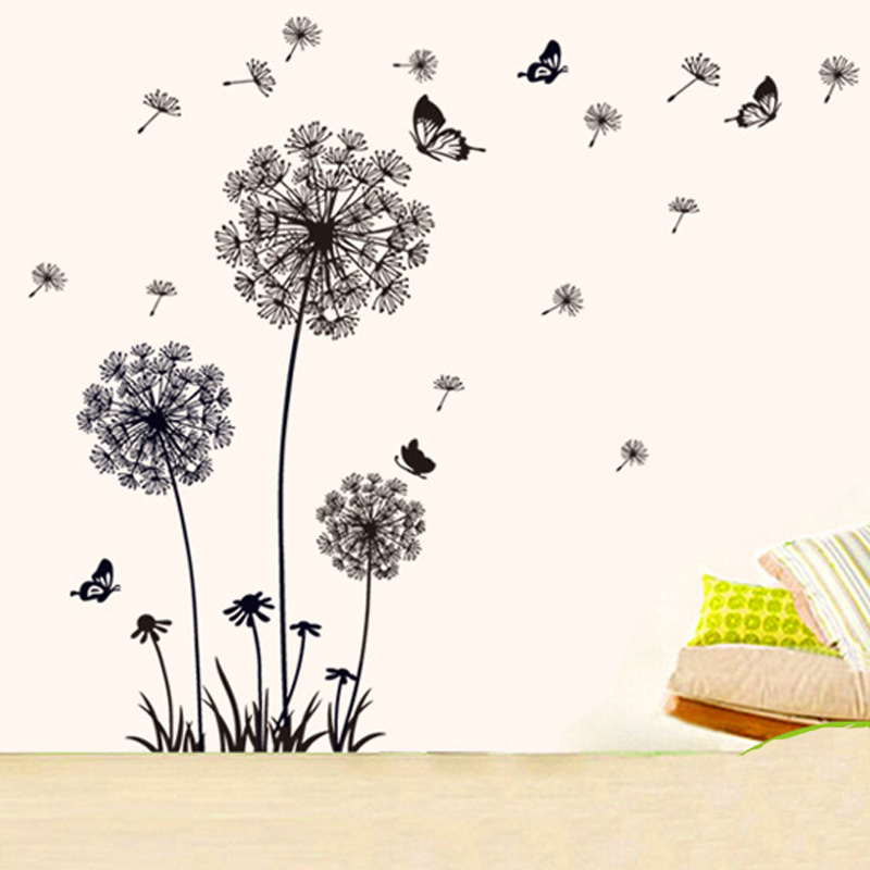 Black Dandelion Wall Sticker butterflies on the wall Living room Bedroom window decoration Mural Art Decals home decor stickers in Wall Stickers from Home Garden