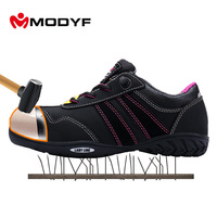 MODYF Women's Outdoor Boots Low Cut Sneaker Steel Toe Safety Shoes Dielectric Design Tire Texture Outsole Protective Footwear