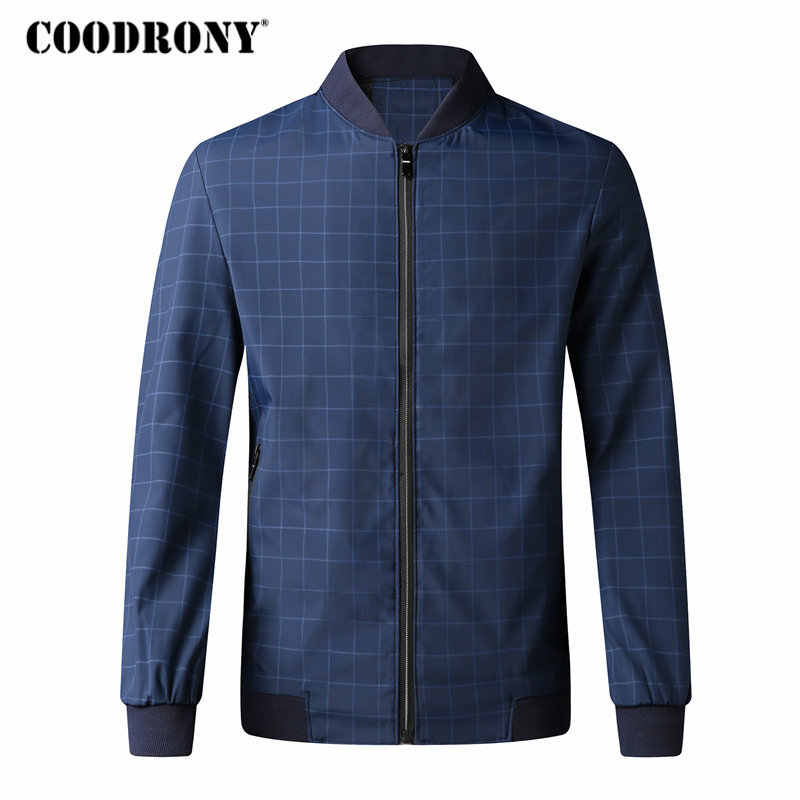 COODRONY Stand Collar Bomber Jacket Men Casual Plaid Streetwear Clothes 2018 Autumn Winter Mens Jackets And Coats Slim Fit 8805
