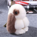 2017 Rex Rabbit Fur keychain Cute Rabbit Doll Key Chain Pendant White/Pink/Orange Wallet  Car Pendant with best gift 88