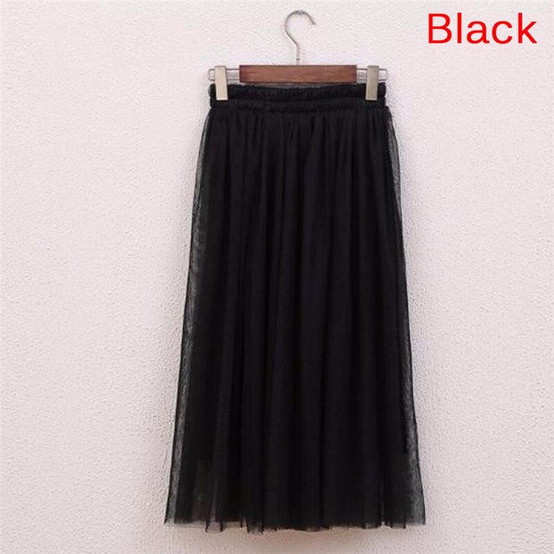 Elastic Waist Skirts Women 2018 Summer Casual High Waist Long Skirt Womens Casual Voile Mesh Skirt