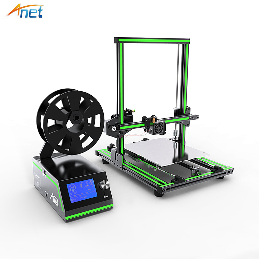 New! Anet E10 E12 3D Printer DIY Kit Aluminum Frame Multi-language Large Printing Size High Precision Reprap i3 with Filament 2018 flsun i3 3d printer diy kit dual nozzle touch screen large printing size 300 300 420mm two roll filament for gift