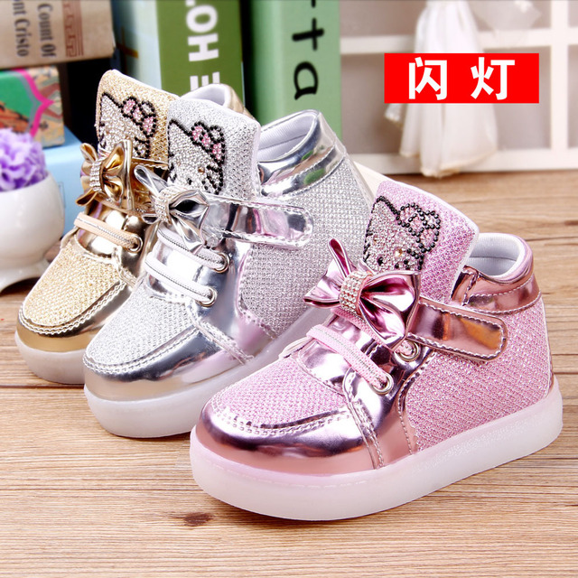 3364717ea2ea kids trainers girls crystal Hello Kitty cartoon toddler bling shoes with light  children shoes girl Butterfly-knot sneaker shoes