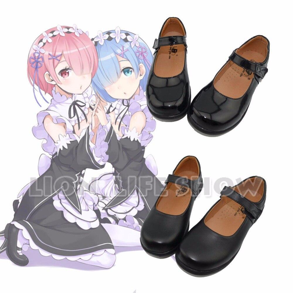 Re:Zero kara Hajimeru Isekai Seikatsu Ram Rem Kasugano Sora Women Maid Black Leather Flat Low Heel Shoes Cosplay