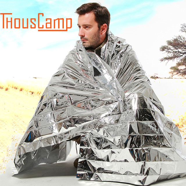 Outdoor Camping Emergency Blanket Silver Thermal Blanket Portable Survival Kits Rescue Insulation Curtain Life-saving