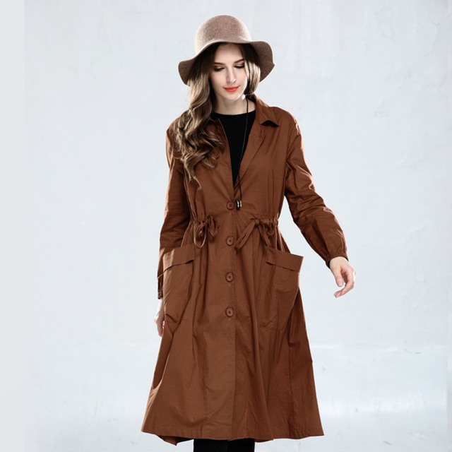 Autumn Boho Elegant Casual Office Lady Plus Size Women Trench Coats Loose Plain Female Fashion Brown Long Large Size Overcoat