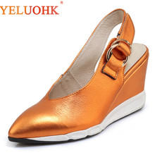 Genuine Leather Women Shoes Heels Spring Women Pumps 2018 High Quality High Heels 8 CM Wedges Shoes Slingbacks