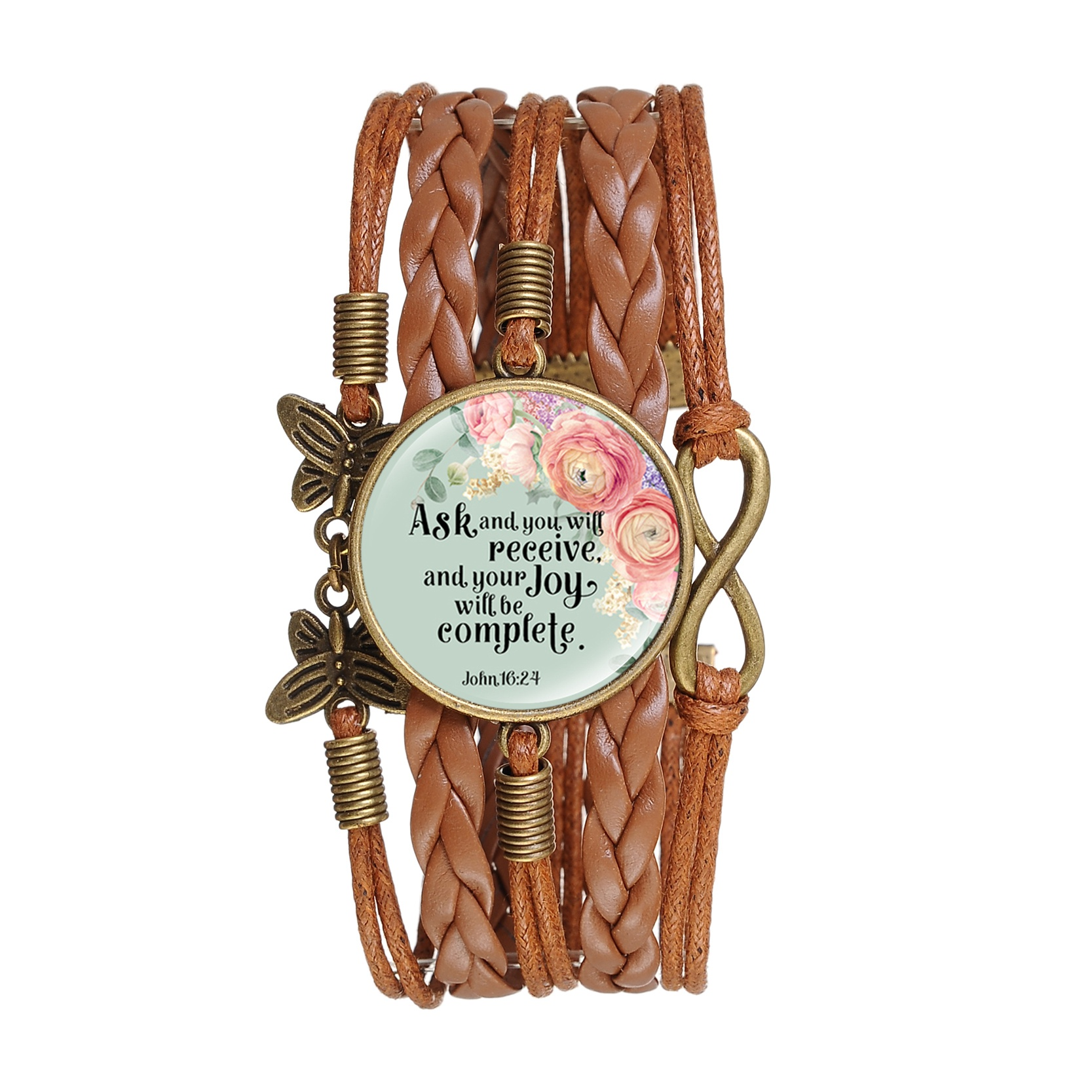 New Creative Multilayer Glass Cabochon Bible Verse Handmade Leathers Bracelet Jewelry For Men For Women Gifts Female Fashion in Charm Bracelets from Jewelry Accessories