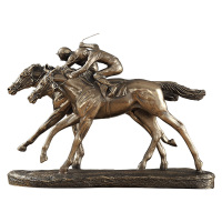 Creative Horse Racing Statue Decor Cold Cast Copper Animal Figurine Art Resin Crafts Home Decoration Accessories R1409