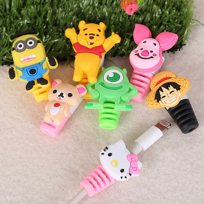 10pcs/lot Cartoon Cable Protector  USB Charging Data Line Cord Universal Protective Case Cable Winder Cover For iPhone Android