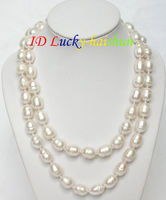 NEW 32 natural baroque white pearls necklace Free shipping