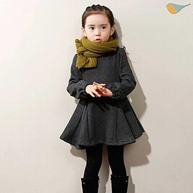Meninas vestido para o bebê inverno outono roupas de algodão grosso da criança menina casual crianças sólido coreano crianças roupas 3 4 5 6 8 10 t