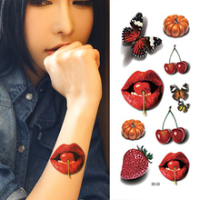 3D Tatoos Of Fruit Delicious Cherry/Strawberry/Grape Photo Designs Temporary Tattoo Stickers Waterproof
