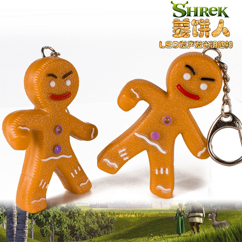 kids gift sound light keychains flashlight sound gingerbread man cartoon toys animation led key chain print your design BS-083
