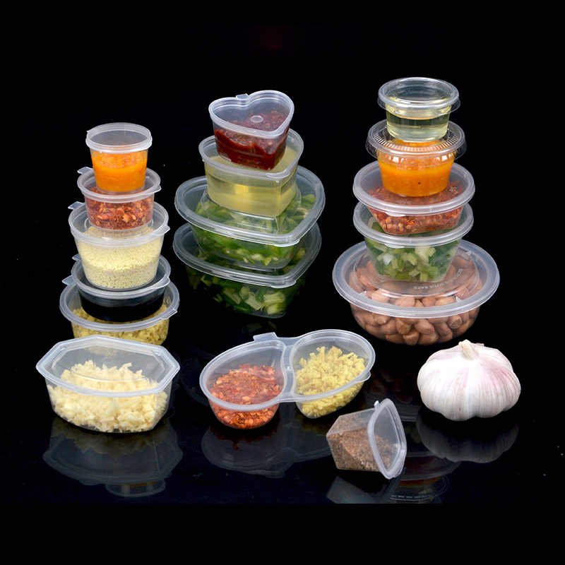 20pcs 30ml 45ml Disposable Clear Plastic Sauce Chutney Cups Slime Storage Container Box With Lids Kitchen Organizer