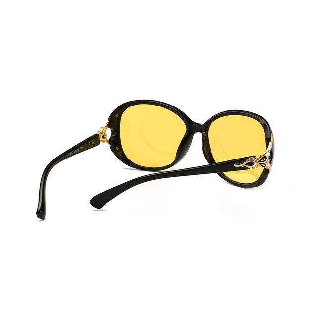 Women HD Polarized Night Vision Driving Glasses Black Oval Oversize Driving Glasses 3