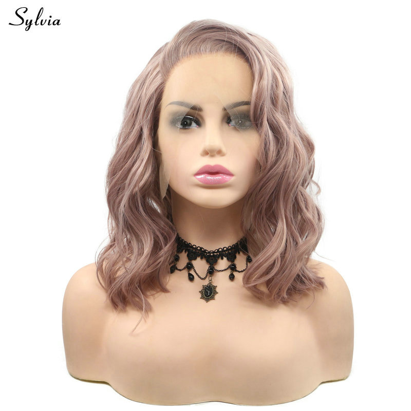 Sylvia Summer Short Bob Wigs Rose Pink/Purple/Black/Silver Blonde/Pastel Blonde Wavy Lace Front Wig Synthetic Women Wigs Hair