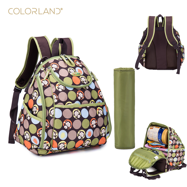 New Arrival Colorland Large Capacity Elegant Baby Diaper Backpacks Bags With Changing Mat Multifunctional Ny Bag