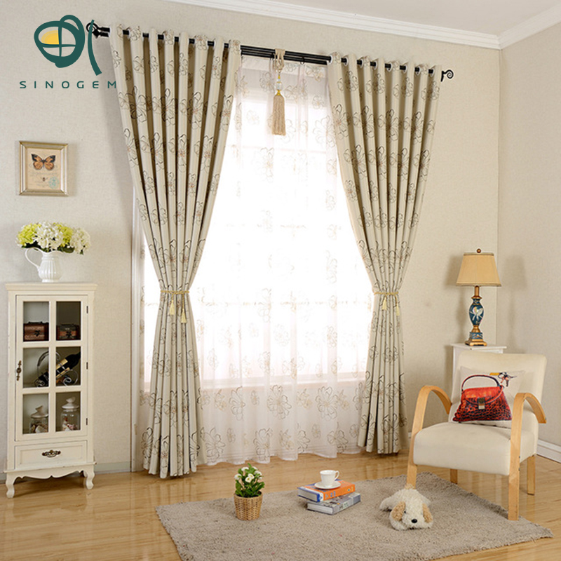 Sinogem New Luxury Pastoral Shade Blackout Curtains For Living Room The Bedroom Kitchen Window Curtain Set Blinds Drapes