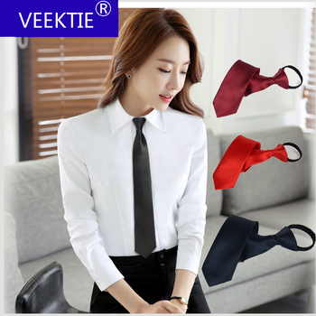 1 piece Pre-tied Shiny Students Zipper Ties For Women Boys Girls Slim Narrow Men Necktie Solid Red Black Navy Blue 5cm Skinny