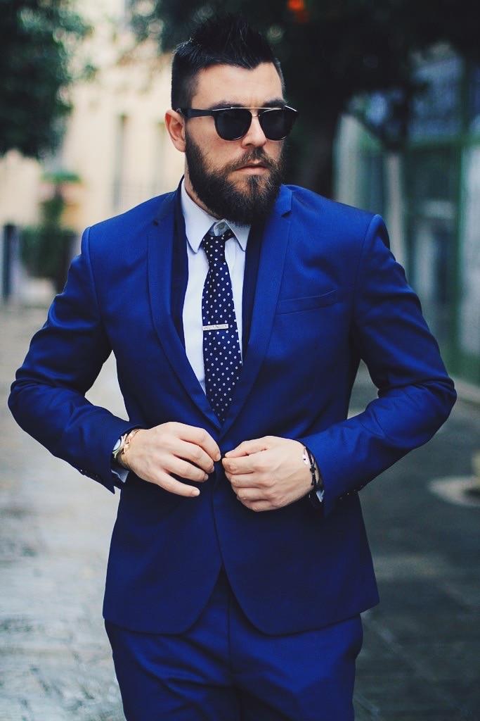 Latest Coat Pant Designs Royal Blue Men Suit Slim Fit 2