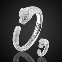 Brand Green Eye Cubic Zircon Leopard Bangle & ring Jewelry Sets Women copper Bangle Accessories Sets Zirconia Anel Aneis