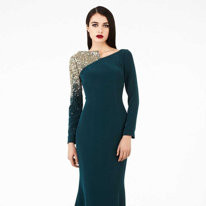 0b1ae2109a0 ... Бесплатная доставка платья зимние вечерние платья с длинным рукавом  бусины Bling платья для матери невесты платье ...