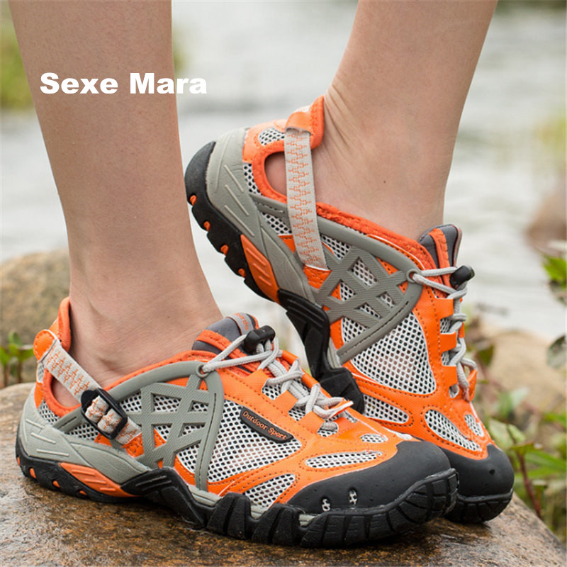High quality hiking shoes 2017 women outdoor Sneakers Lovers net cloth women and men Sport Shoes men Trainers Walking size 35-47 mans shoes mountain big size brand shoe men sport anti slippery hiking shoes mens good quality outdoor hiking trainers