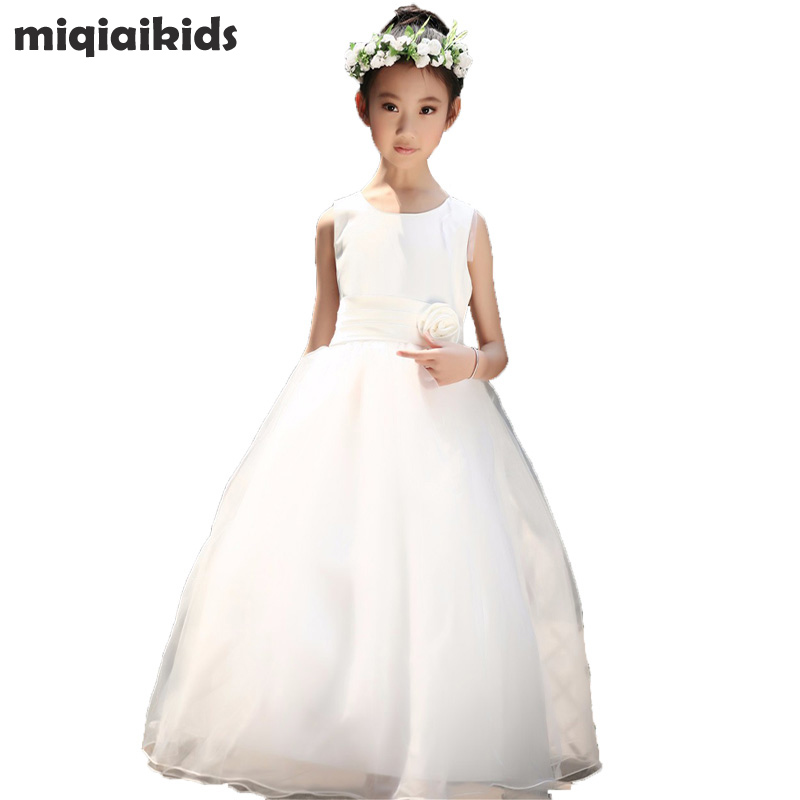 Retail new fashion baby girl long Wedding dress kids girl dance party dress 6 colors free shipping size:100-160  LP-53 retail new arrival100