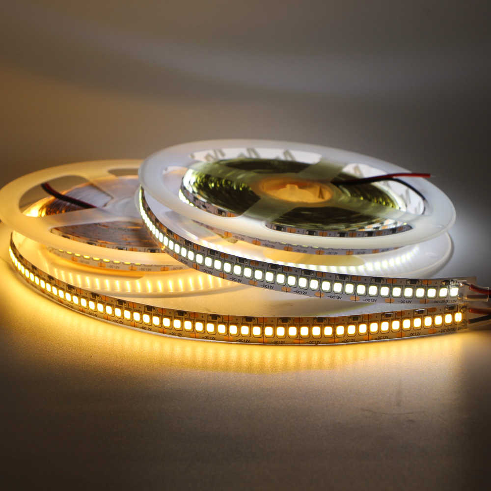 5 M 10 Mm PCB 2835 SMD 1200 LED Strip Pita DC12V Tahan Air Fleksibel Light 240 LED/M Hangat putih Double PCB Tape String Tali 12 V