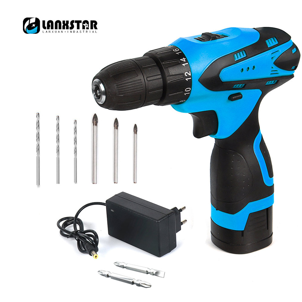 цена на LANXSTAR Cordless Electric Drill Two-Speed Rechargeable Lithium Battery Electric Screwdriver with Bits 16.8V Multifunction Drill