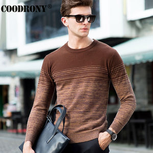 Image 4 - COODRONY 100% Merino Wool Sweater Men Winter Christmas Thick Warm Cashmere Sweaters Fashion Gradient Print O Neck Pullover Homme