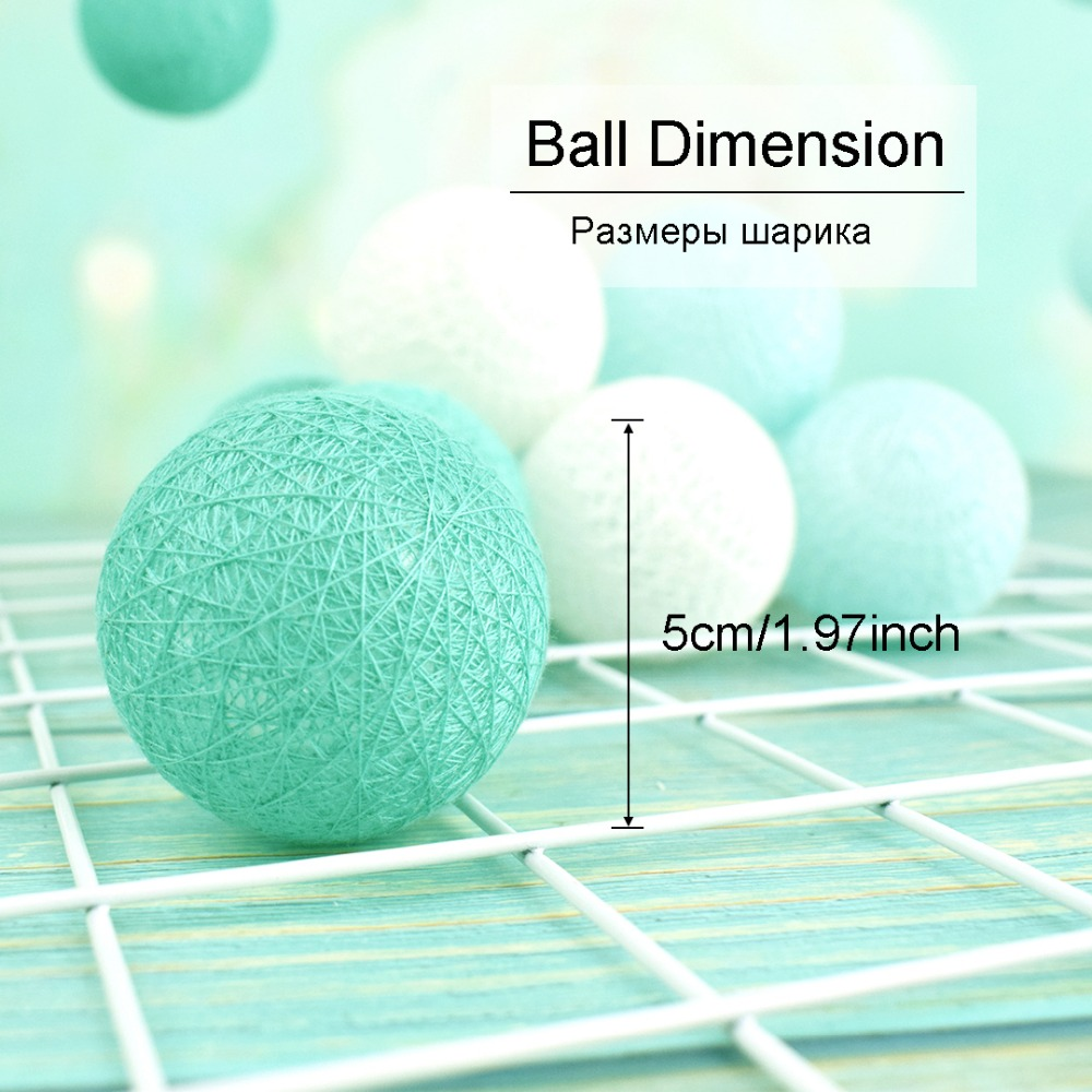 Luces de vacaciones Led Light String Tiffany Color 5CM Ball 120CM - Iluminación de vacaciones - foto 4