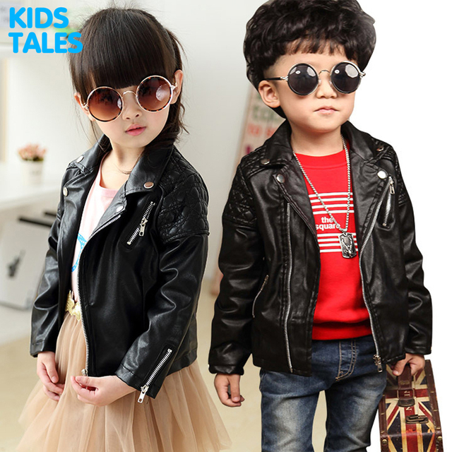 Children PU Leather Jacket Boys Autumn Leather Coat Girls Spring Jacket Children Solid Casual Outerwear 1-7T