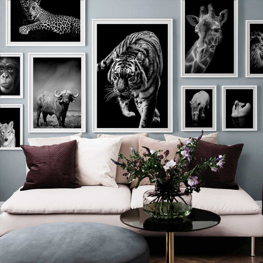 Lion Tiger Leopard Wolf Elephant Nordic Poster And Print Animal Wall Art Canvas Painting Wall Picture For Living Room Home Decor