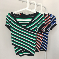 Micosoni 2018 Summer Retro Short sleeved Large V neck Sweater Collared Striped Jumper Shows Thin Stretch Blouse Sweater