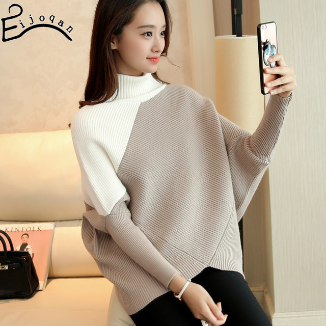 2016 new winter turtleneck batwing coat head set with thick sweater female loose render sweater   v357