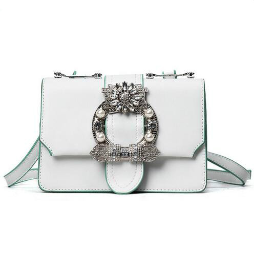 2018Fashion New Handbags Quality PU Leather Women bag British Retro Trend Rivet Square bag Ladies Diamond Shoulder Messenger bag