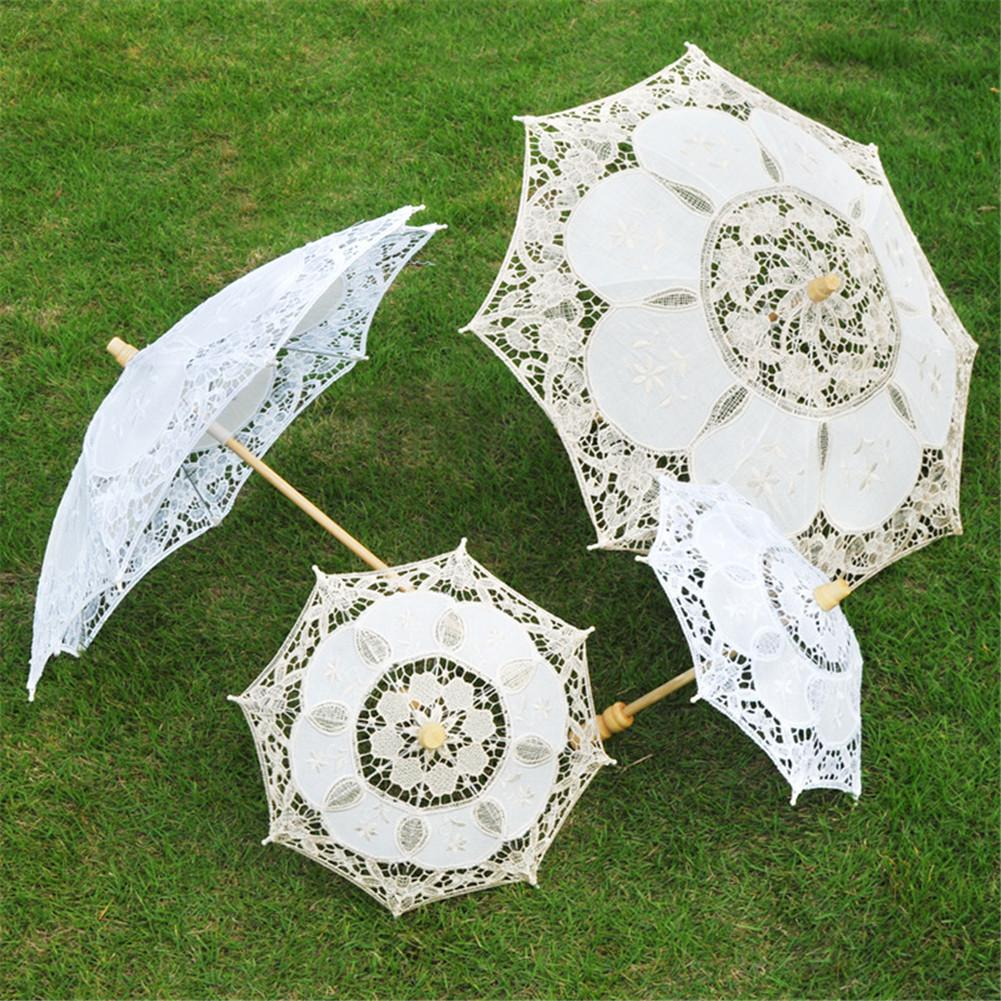 Handmade Cotton Lace Flower Wedding Parasol Umbrella Party Supplier Black
