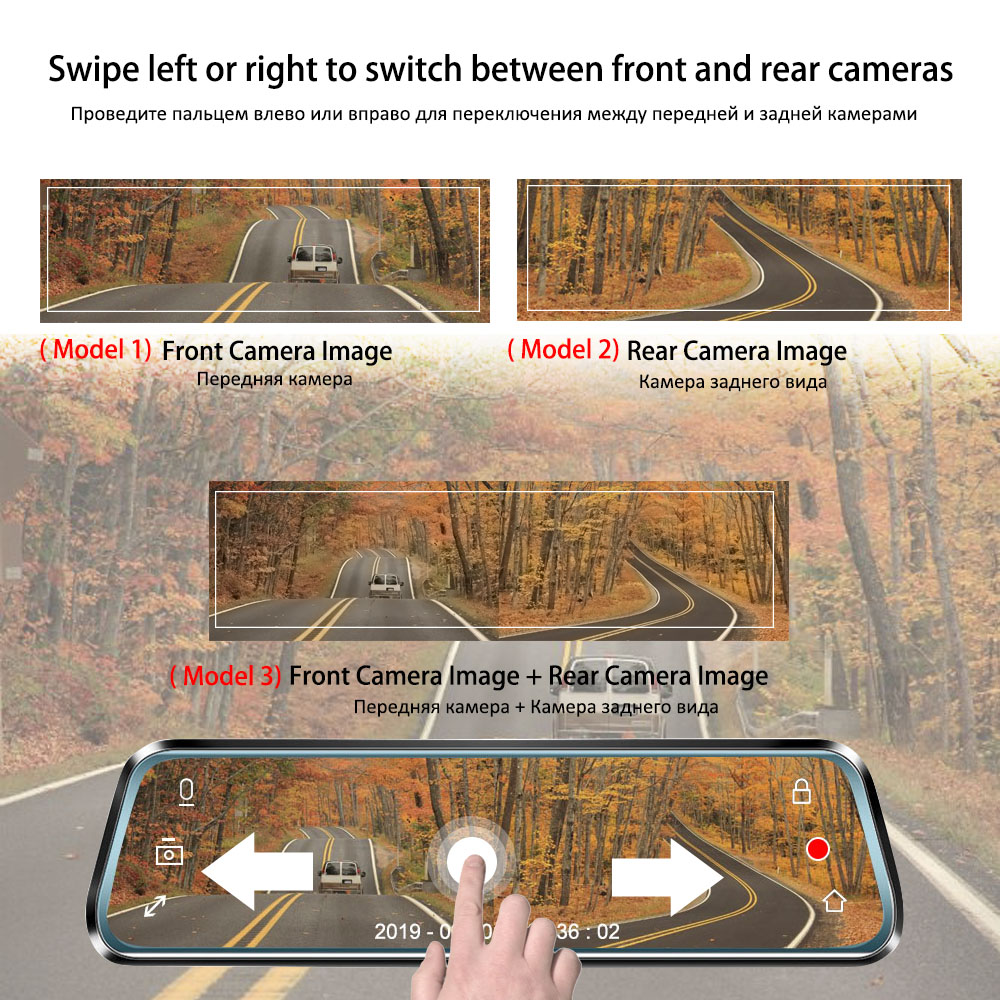 TAVIN Auto DVR 10 zoll Touchscreen Rückspiegel Dash cam Full HD Front Auto Kamera + 1080P zurück Cam Dual Objektiv Video Recorder - 3