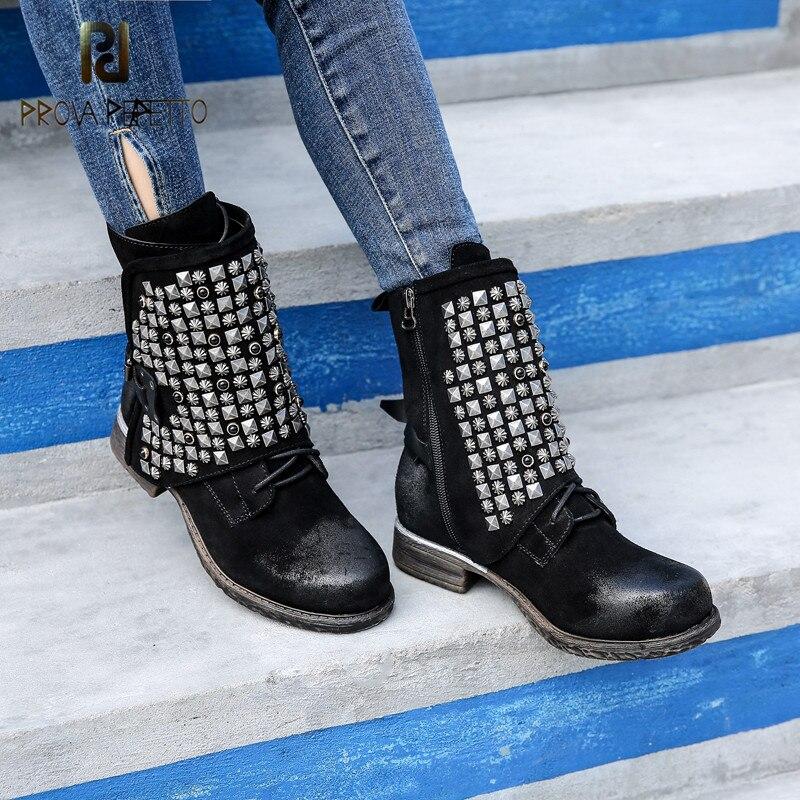 Prova perfetto Euramerican Style glaçage vache daim femme mi-bottes plat épais bas côté fermeture éclair Rivet chevalier bottes neutre