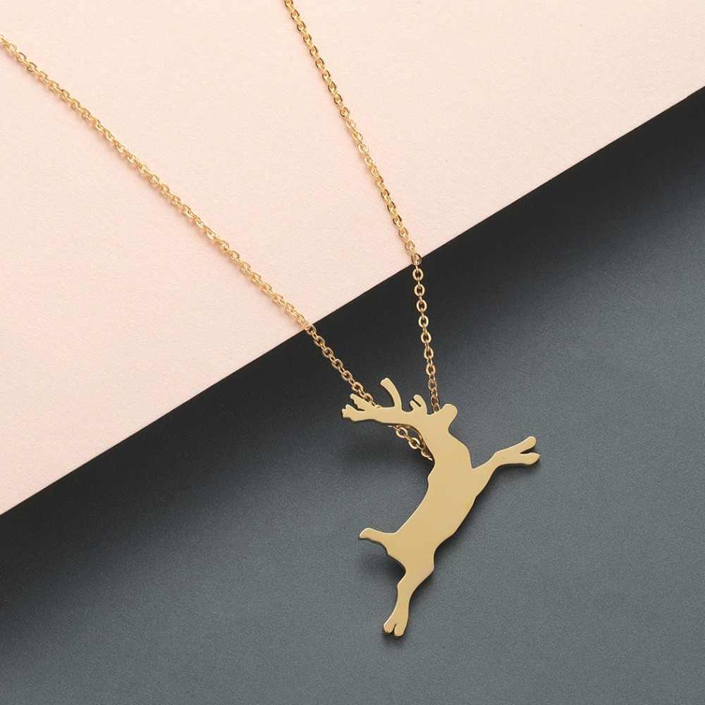 Sale Reindeer Pendant Gold Plated Reindeer Gift for her Christmas gift Reindeer Necklace