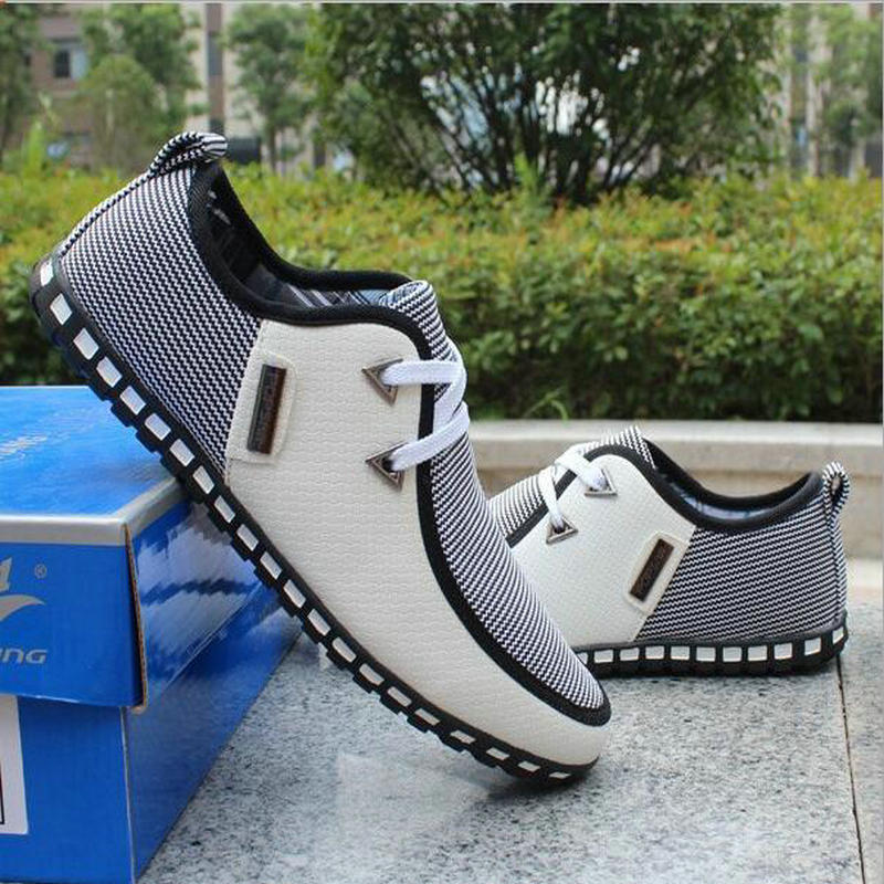 2017 primavera transpirable hombres doug holgazanes zapatos casuales aumentaron en los planos de la moda británica encaje hasta zapato masculino raza humana