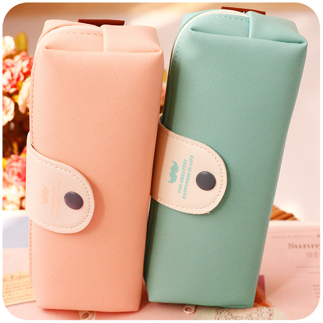 Hot Sales New Cute Kawaii Pure Color Leather Pencil Case School Pencil Bag For Girls Korean Stationery Free Shipping 0803