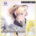 SHENGMEIYUAN NEW!! Blonde yellow cosplay wig overwatch cosplay wig medium long straight hair OW free shiping