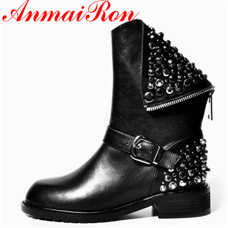 ANMAIRON new female cool motorcycle boots fashion simple zipper boots comfortable bottom ankle boots for women new Martin boots new fashion boots autumn cool