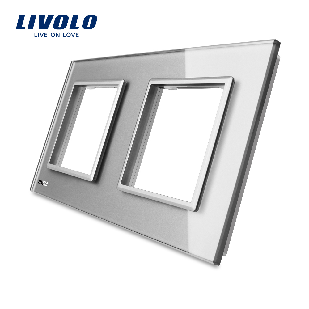 Livolo Luxury white Pearl Crystal Glass, EU standard, Double Glass Panel For Wall Switch&Socket, C7-2SR-11  (4 Colors)Livolo Luxury white Pearl Crystal Glass, EU standard, Double Glass Panel For Wall Switch&Socket, C7-2SR-11  (4 Colors)